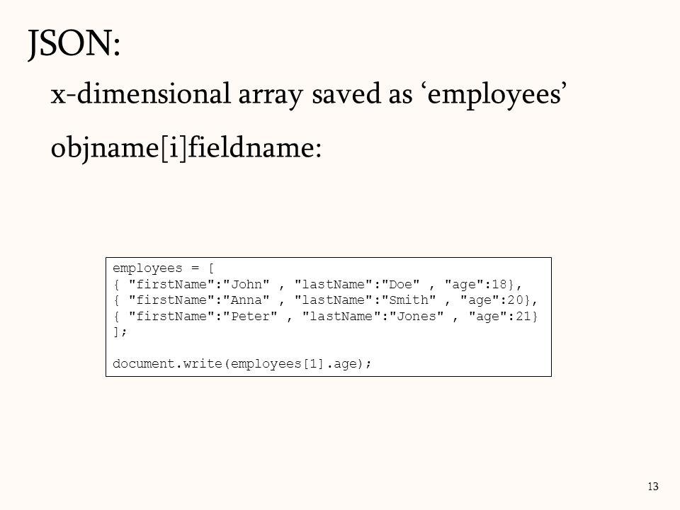 JSON: x-dimensional array saved as 'employees' objname[i]fieldname: